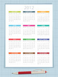 Calender for 2012. On graph paper background, with pen Stock Illustration
