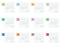 Calender for 2012. In square design with ribbons isolated on white Royalty Free Stock Images