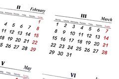 Calender. Over white background, March stock image