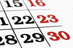 Calender. Over white background,macro Royalty Free Stock Photos