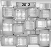 Calender with all months of year 2012. Metal calender with all months of year 2012 royalty free illustration