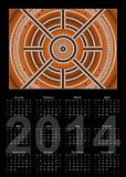 A calender based on aboriginal style of dot painting depicting y Stock Image