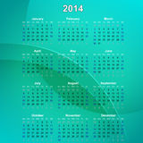 2014 Calender. 2014 Calendar on a green abstract background vector illustration