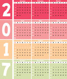 Calender 2017 in  can be converted into any size for print Royalty Free Stock Photos