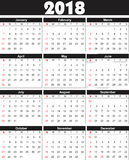 Calender 2018 in  can be converted into any size for print Royalty Free Stock Image