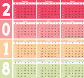Calender 2018 in  can be converted into any size for print Royalty Free Stock Photography