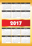 Calender 2017 in  can be converted into any size for print Stock Images