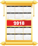 Calender 2018 in  can be converted into any size for print Stock Photos