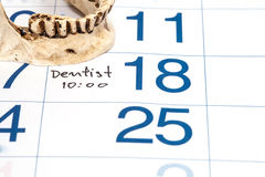 Calender for Dentist Appointment Royalty Free Stock Image