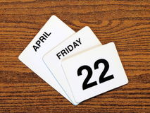 Calender Earth Day 2011. Calender showing Earth Day, Friday February 22nd, 2011 Stock Photography