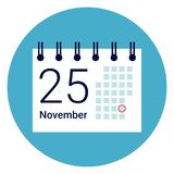 Calender Icon On Round Blue Background. Flat Vector Illustration Stock Photos