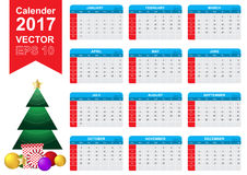 Calender 2017 january - december vector object. Rgb mode Royalty Free Stock Photo