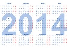 Calender 2014. Montag bis Sonntag in german Stock Images