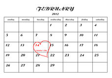 Calender page with a detail of valentine day Stock Image