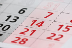 Calender page with a detail. Of the valentine day Stock Photos