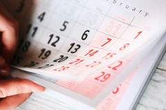 Calender page with a detail. Of the valentine day stock images