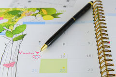 Calender page with a detail of the valentine day Stock Photography