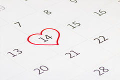 Calender page of the valentine day Stock Photography