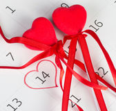 Calender page of the valentine day. Calender page with a detail of the valentine day royalty free stock images