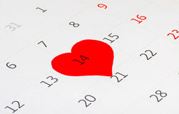 Calender page of the valentine day. Calender page with a detail of the valentine day royalty free stock photo
