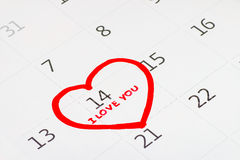 Calender page of the valentine day Stock Photos