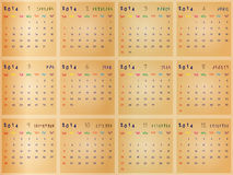 Calender for 2014 Stock Images