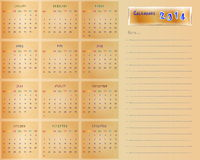 Calender for 2014 Royalty Free Stock Images