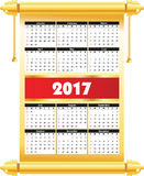 Calender 2017 in  for printing without losing resolution, Royalty Free Stock Photography