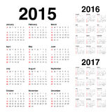 Calender 2015 2016 2017. Simple calendar 2015 2016 2017 royalty free illustration