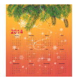 Calender for 2014. With sparkles stock illustration