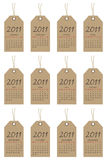 Calender tags for 2011. Calender for 2011 on month tags isolated on white Royalty Free Stock Photo