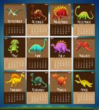 Calender template with 12 dinosaurs. Illustration Stock Photo