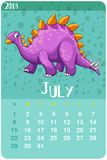 Calender template for July with stegosaurus. Illustration Stock Photos