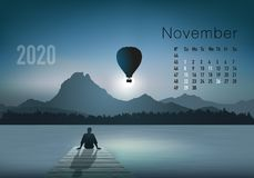 2020 calendar ready to print in american version, showing sunsets on landscapes overflighted by balloons. 2020 calendar ready to print in american version vector illustration