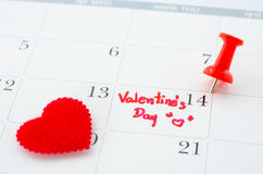 Calender of the valentine day Royalty Free Stock Photo