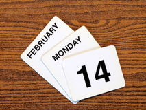 Calender Vantentine Day 2011. Calender showing Valentine Day, Monday February 14, 2011 Stock Image