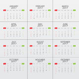 Calender 2017 vector object. Rgb mode Stock Image