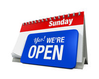 Calender with Yes We're Open Sign Stock Image