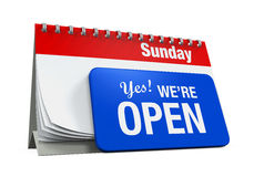 Calender with Yes We're Open Sign Royalty Free Stock Image