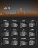 calendrier élégant de 2015 ans sur le fond de paysage urbain illustration stock