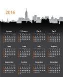 calendrier élégant de 2016 ans sur le fond de paysage urbain illustration de vecteur