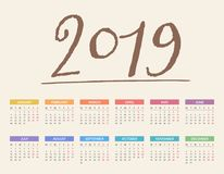 calendrier 2019 Images stock
