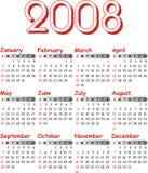 Calendrier 2008 de vecteur. Image stock