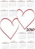 calendrier 2010 avec les coeurs blanc illustration libre de droits