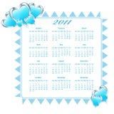 Calendrier 2011 avec des coeurs Photo stock