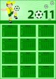 Calendrier 2011 avec le joueur de football Image stock
