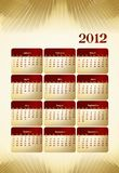 calendrier 2012 de type d'affaires Photographie stock libre de droits