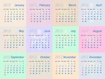 Calendrier 2012 de vecteur Photos stock