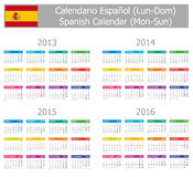 Calendrier 2013-2016 espagnol de type 1 Lundi-Sun Photographie stock