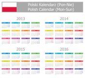 Calendrier 2013-2016 polonais de type 1 Lundi-Sun Images stock